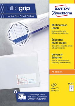 Avery Zweckform 3425, étiquettes universelles, Ultragrip, blanc, 100 feuilles, ft 105 x 57 mm
