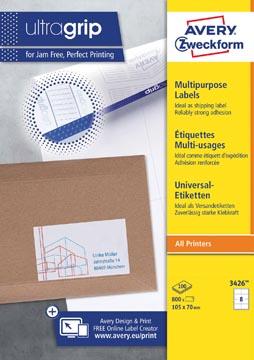 Avery Zweckform 3426, étiquettes universelles, Ultragrip, blanc, 100 feuilles, ft 105 x 70 mm