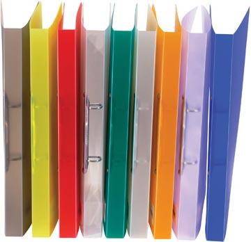 Bronyl classeur à anneaux, pour ft A4, en PP, 2 anneaux en D de 15 mm, couleurs assorties transparentes