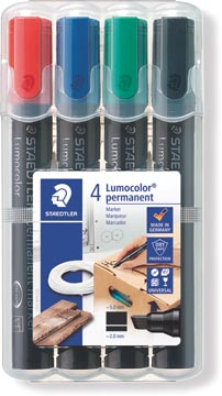 Staedtler permanente marker Lumocolor, beitelpunt, etui van 4 stuks in geassorteerde kleuren
