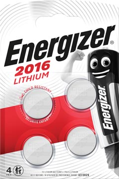 Energizer knoopcellen lithium CR2016, blister van 4 stuks