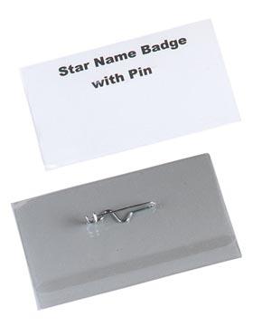 STAR badge avec épingle ft 40 x 75 mm, boîte de 100 pièces