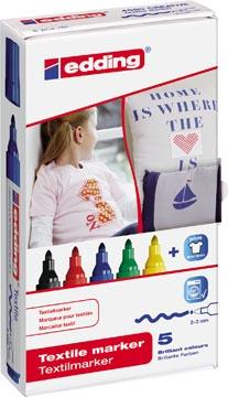 Edding marqueur Textile e-4500 étui de 5 couleurs assorties