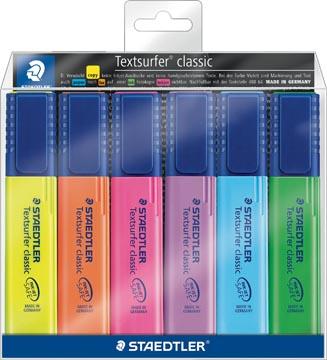 Staedtler surligneur Textsurfer Classic, étui de 6 pièces: jaune, orange, rose, violet, bleu et vert