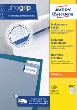 Avery Zweckform 3650, étiquettes universelles, Ultragrip, blanc, 100 feuilles, 48 x 21 mm