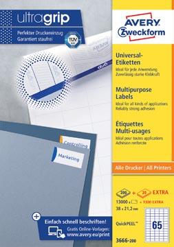 Avery Zweckform 3666-2, étiquettes universelles, Ultragrip, blanc, 200 feuilles, 38 x 21,2 mm
