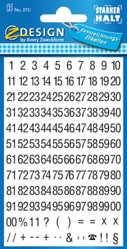 Avery Etiquettes chiffres et lettres 1-100, 2 feuilles, noir sur blanc