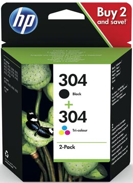 HP cartouche d'encre 304, 100-120 pages, OEM 3JB05AE, 1 x noir et 1x 3 couleurs