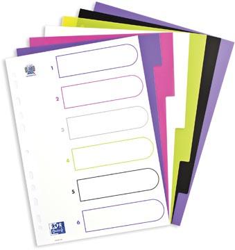 OXFORD MyColour tabbladen, formaat A4, uit gekleurde PP, 11-gaatsperforatie, 6 tabs