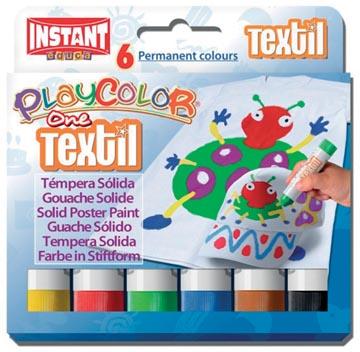 Graine Créative bâton textile PlayColor One, 6 couleurs en étui cartonné