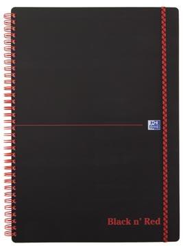 Oxford BLACK N' RED spiraalblok kunststof, 140 bladzijden ft A4, geruit 5 mm