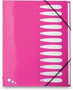 Elba Art Pop classeur-trieur, ft A4, 12 compartiments, en PP, rose