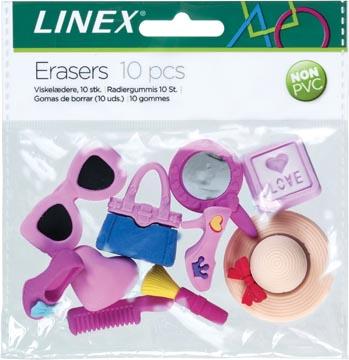 Linex 3D gum, geassorteerde figuurtjes, blister met 10 stuks