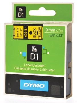 Dymo D1 ruban 9 mm, noir sur jaune