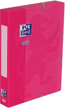 Oxford Touch elastobox uit karton, rug van 4 cm, met rugetiket, roze