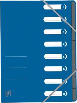 Elba Oxford Top File+ sorteermap, 8 vakken, met elastosluiting, blauw