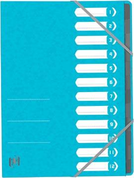 Elba Oxford Top File+ sorteermap, 12 vakken, met elastosluiting, lichtblauw