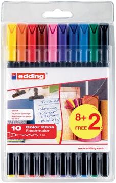 Edding feutre de coloriage 1200, blister de 10 pièces (8 + 2 gratuits) en couleurs assorties
