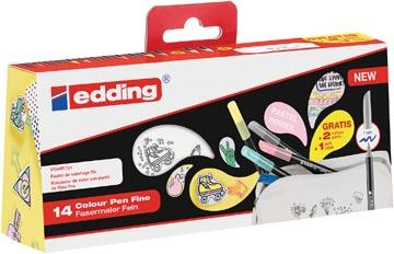 Edding feutre de coloriage 1200, blister de 14 pièces (12 + 2 gratuits) en couleurs assorties pastel