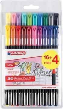 Edding feutre de coloriage 1200, blister de 20 pièces (16 + 4 gratuits) en couleurs assorties
