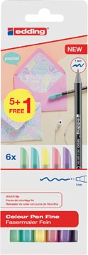 Edding feutre de coloriage 1200, blister de 6 pièces (5 + 1 gratuit) en couleurs assorties pastel
