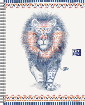 Oxford Boho Chic cahier spiralé, ft A4+, 120 pages, ligné, lion