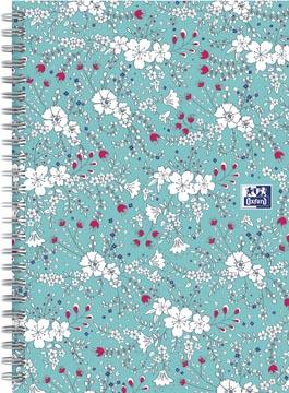 Oxford Floral couverture rembordée cahier à spirale, ft B5, 60 feuilles, ligné, turquoise