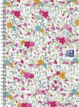 Oxford Floral couverture rembordée cahier à spirale, ft B5, 60 feuilles, quadrillé 5 mm, blanc