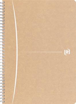Oxford Touareg cahier à reliure spirale en carton, 180 pages ft A4, quadrillé 5 mm, beige/blanc