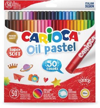 Carioca pastels à l'huile, boîte de 50 pièces en couleurs assorties