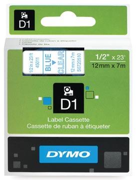 Dymo D1 tape 12 mm, blauw op transparant