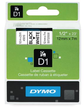 Dymo D1 tape 12 mm, zwart op wit