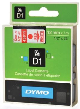 Dymo D1 tape 12 mm, rood op wit