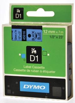 Dymo D1 tape 12 mm, zwart op blauw