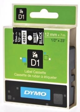 Dymo D1 tape 12 mm, wit op zwart