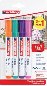 Edding marqueur textile 4500, set de 4 pièces en couleurs assorties à la mode (3 + 1 gratuit)