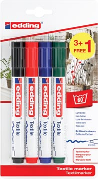 Edding marqueur textile 4500, set de 4 pièces en couleurs assorties basiques (3 + 1 gratuit)