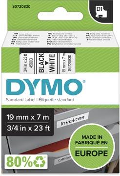 Dymo D1 tape 19 mm, zwart op wit