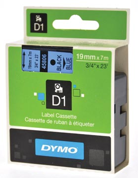 Dymo D1 tape 19 mm, zwart op blauw