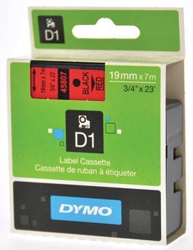 Dymo D1 tape 19 mm, zwart op rood