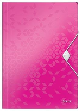 Leitz WOW elastomap met 3 kleppen, uit PP, ft A4, roze