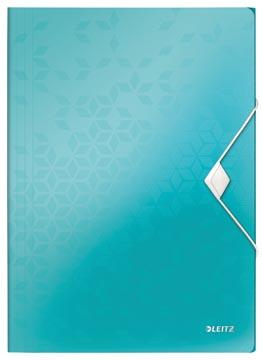 Leitz WOW elastomap met 3 kleppen, uit PP, ft A4, ijsblauw