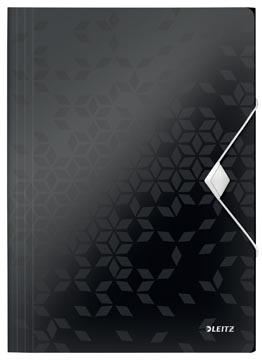 Leitz WOW elastomap met 3 kleppen, uit PP, ft A4, zwart