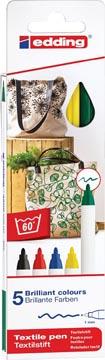 Edding feutre textile 4600, set de 5 pièces en couleurs assorties basiques
