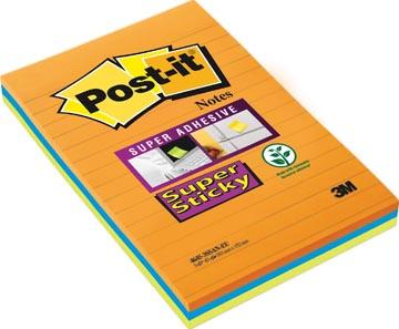 Super Sticky Notes Post-It, 45 feuilles, ft 102 x 152 mm, couleurs assorties, paquet de 3