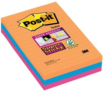Post-it Super Sticky Notes Bangkok, ft 101 X 152 mm, 90 blaadjes, 3 blokken