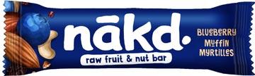 Nakd Blueberry Muffin, barre de 35 g, paquet de 18 pièces
