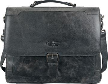 Aktentas SCRATCH met compartiment voor laptop (15 inch), zwart, leder