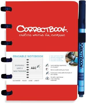 Correctbook A6 Original: uitwisbaar / herbruikbaar notitieboek, gelijnd, rood