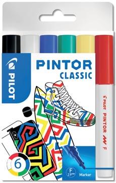 Pilot Pintor Classic marqueur, fine, blister de 6 pièces en couleurs assorties